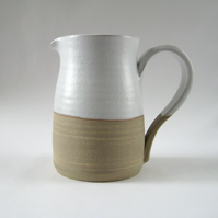 Stoneware Jug – Large White Pitcher Vase, Rustic Handthrown Pottery