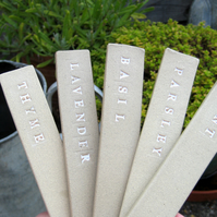 Ceramic Garden Labels, Set of 5 Herb Tags, Markers, Rustic Stoneware