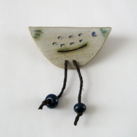 Bird Brooch, Ceramic Handmade Stoneware, Dangling Glass Beads