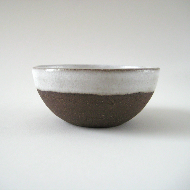 Chocolate Brown Stoneware Clay Bowls, White Textured Glaze, Pottery