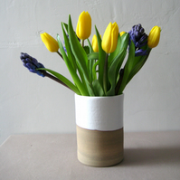 Modern Style Stoneware Vase, White Glaze with Natural Clay, Handthrown Pottery