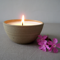 Candle Bowl, Hand thrown Stoneware Bowl with Handmade Soy Wax Candle, Votive