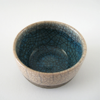 Raku Bowl, Aqua Blue Turquoise Pool with White Crackle Glaze, Small OOAK Bowl