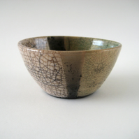 Raku Bowl, Antique Green, Black Stripe with White Crackle Glaze, Small OOAK Bowl