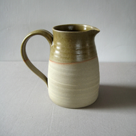 Stoneware Jug – Large Olive Pitcher Vase, Rustic Handthrown Pottery