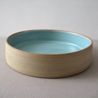 Duck Egg Blue, Modern Fruit Bowl Cylinder, Stoneware, Hand Thrown Pottery
