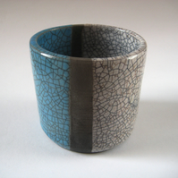 Raku Cylinder Pot, Aqua Blue and White Crackle, Handthrown Pottery