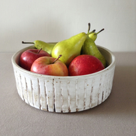 Modern Fruit Bowl, Salad Bowl, Stoneware Cylinder with Vertical Ridge Pattern