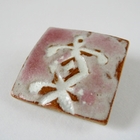 Ceramic Brooch, Pretty Pink and White Abstract Pattern, Handmade Stoneware,
