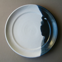 OOAK Plate, Winter Landscape, Starry Night, Handthrown Pottery