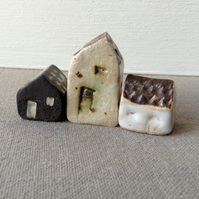 Cute Set of Three Rustic Ceramic Houses, Miniature Stoneware Pottery Gift