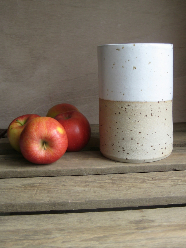 Modern Stoneware Vase - Simple Straight Cylinder, White Glaze, Speckle Clay
