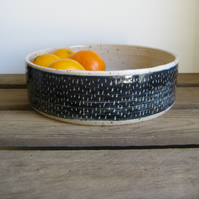 Modern Fruit Bowl, Speckle Stoneware Clay with Blue Sgraffito Line Design