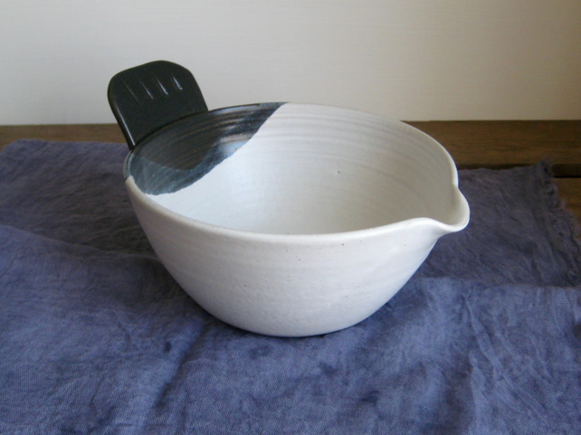 The Original Bird Tail Bowl, Large Pouring Bowl, Blue and White Handmade Pottery