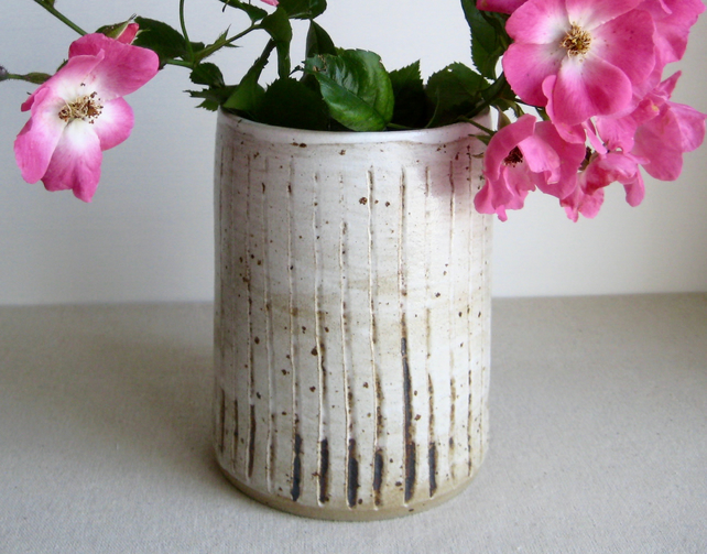 Stoneware Vase, Vertical Ridge Pattern, Handthrown Pottery