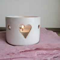 Ceramic Tealight Holder, White Heart Motif,