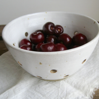 Berry Bowl, Small Colander, Hand Thrown Rustic Pottery, Stoneware, Strainer Bowl