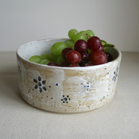 Modern Stoneware Fruit Bowl, White Glaze with Flower Impression