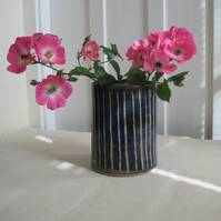 Stoneware Vase, Deep Blue Vertical Line, Hand Thrown Pottery