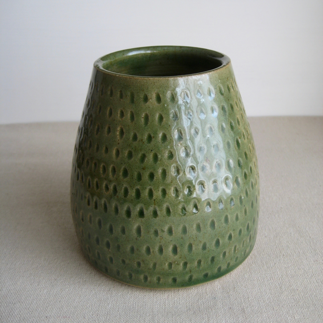 Ceramic Vase in Gloss Green, Hand Thrown Stoneware, Handmade Rustic Pottery