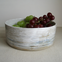 Modern Fruit Bowl, Seascape, Hand Thrown Stoneware Pottery, OOAK Large Cylinder