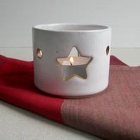 Ceramic Tealight Holder, Star Motif, Handmade Stoneware Pottery