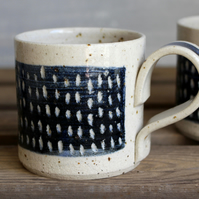 Modern Mug, Hand Thrown Stoneware Pottery, Deep Blue and Ecru Speckled Clay
