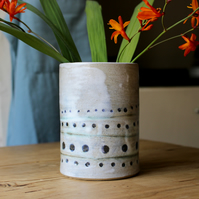 Stoneware Vase, Handmade Pottery, Hand Thrown Ceramics, White Dot Pattern