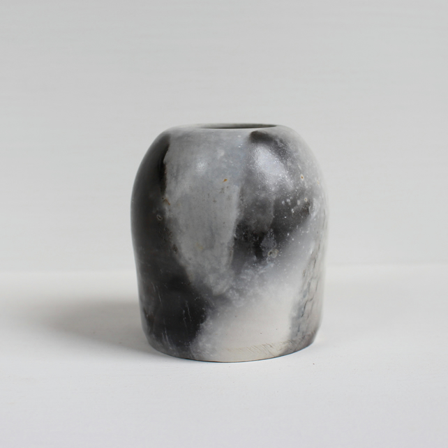 Pit Fired Vase, Handmade Ceramics, Smoke Fired Pottery, Grey Smoke Vase