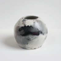 Pit Fired Vase, Handmade Ceramics, Smoke Fired Pottery, Moon Vase