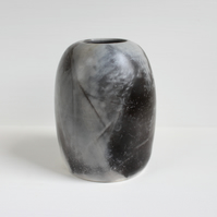 Pit Fired Vase, Handmade Ceramics, Smoke Fired Pottery, Grey Seed Pod Vase
