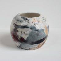 Pit Fired Vase, Handmade Ceramics, Smoke Fired Pottery, Planet Vase