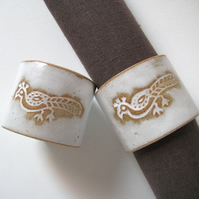 Set of 2 Ceramic Napkin Rings, Handmade Stoneware Pottery