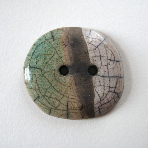 Ceramic Raku Button (Green and White)