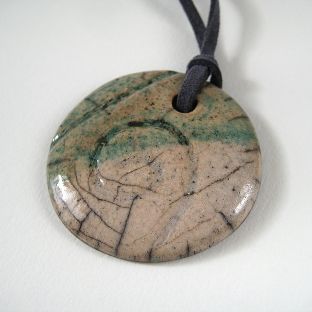 Raku Pendant, Ceramic Stoneware, Mushroom and Green Spiral