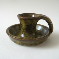 Candleholder with Handle - Traditional Ceramic Rustic Pottery