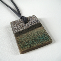 Raku Pendant, Ceramic Stoneware, Antique Green and White Crackle