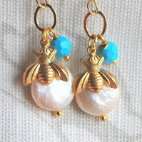 Bee & Pearl Earrings