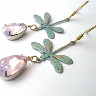Dragonfly Vintage Glass  Earrings