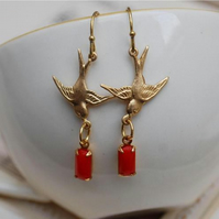 Cute Brass Bird Earrings