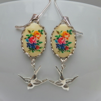 Floral Cabochon Bird Earrings
