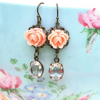 Dainty Rose cab & Vintage Glass Earrings