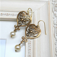 Filigree & Pearl Earrings
