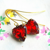 Red Vintage Heart  Glass Earrings