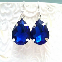 Vintage Glass Teardrop   Earrings