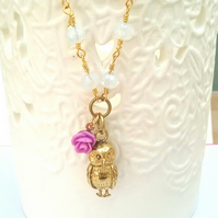 Beaded Solid Brass Owl Necklac