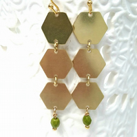 Hexagon Geometric Brass Earrings......