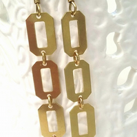 Geometric Brass Oblong Earrings