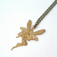 Elegant Raw Brass Fairy Pendant....