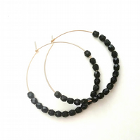 Gold Filled Czech  black beaded Hoops....